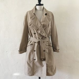 JUICY COUTURE Tan Ruffled Trench Coat Large